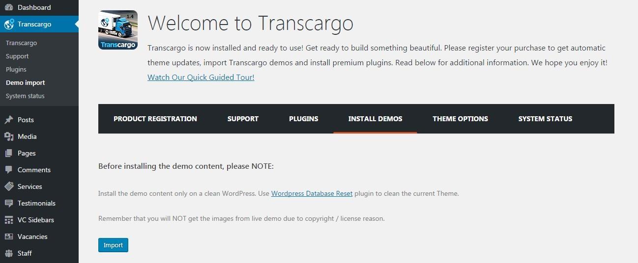 Transcargo - Installation - Knowledge Base by StylemixThemes