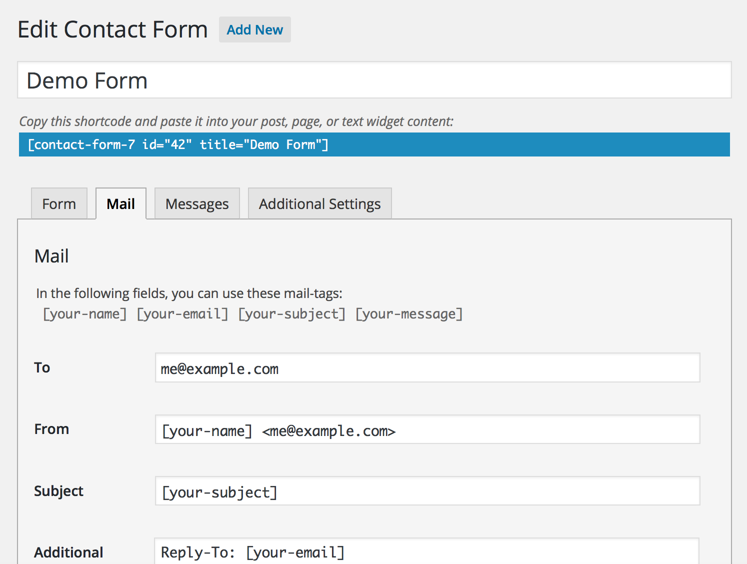 Wordpress Contact Form 7 Setup Guide