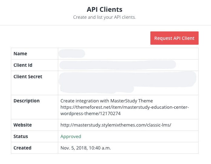 Approved API credentials